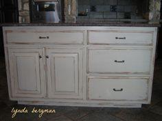 Attractive Distressed White Kitchen Cabinets Photo   1