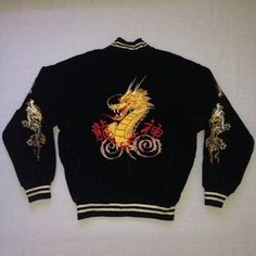 Items similar to Vintage Sukajan Dragon Japan Yokosuka Emboidered Souvenirs Bomber Jacket on Etsy, a global handmade and vintage marketplace.