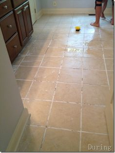 I did this today.  I was amazed.  My floor and grout looks new again.  Took a little bit of scrubbing.  But it was worth it