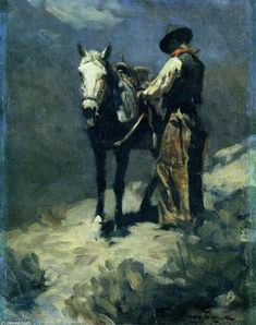 Night Herder, Oil On Canvas by Frank Tenney Johnson (1874-1939, United States)