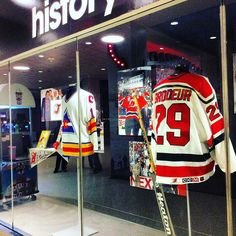 Martin Brodeur's NJ Devils' hockey jerseys on display at The Prudential Center the team's home base. Holiday wish list includes wins for December games (27 29 31) & more! For complete schedule and tickets visit: @njdevils and