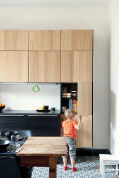 Mini maxi effect budget: our before / after IKEA - Decoration Ideas Kitchen Flooring, Kitchen Furniture, Kitchen Cabinets, Kitchen Dinning, New Kitchen, Ikea Deco, Cuisines Design, Küchen Design, Interior Design Kitchen