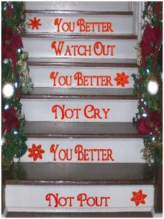 Christmas Stairs Decals or put other words for all seasons Christmas Music, All Things Christmas, Vintage Christmas, Christmas Holidays, Christmas Crafts, Merry Christmas, Xmas, Green Christmas, Holiday Themes