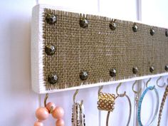 Studded Jewelry Hanger / Burlap & Hooks / White Distressed Rustic Wood Necklace Bracelet Organizer on Etsy, $18.00