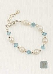 Click here to purchase this beautiful birthstone and pearl baby bracelet.  Perfect gift for any occasion! www.onesmallchild.com $38.50