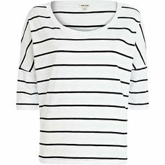 Navy and white stripe boxy 3/4 sleeve t-shirt £14.00