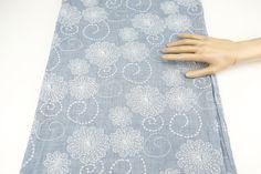 Blue Embroidered Cotton Gauze Woven Fabric 40 by felinusfabrics