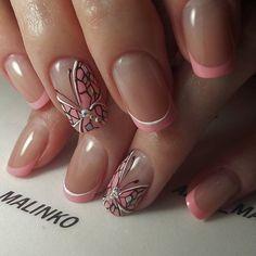 Winter Nails Designs - My Cool Nail Designs French Nail Designs, Pretty Nail Designs, Winter Nail Designs, Nail Art Designs, Nails Design, Butterfly Nail Designs, Butterfly Nail Art, Pink Butterfly, Ongles Roses Clairs