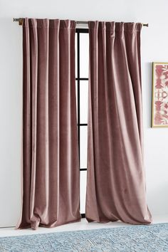 Velvet Louise Curtain by Anthropologie in Purple, Curtains When it comes to master bedroom design Velvet Curtains Bedroom, Blush Curtains, Living Room Decor Curtains, Velvet Drapes, Drapes Curtains, Bedroom Decor, Purple Curtains, Apartment Curtains, Living Room Blinds
