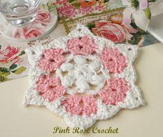 PINK ROSE CROCHET: Centrinho Flor Sinhá Porta-Copos Coaster