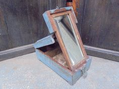 Antique Portable Shaving Box Mirror 1940's Indian Painted. by Lallibhai on Etsy