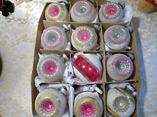 Chic Box 12 Double Indent Shiny Brite MICA Glass Xmas Ornaments PINK Shabby