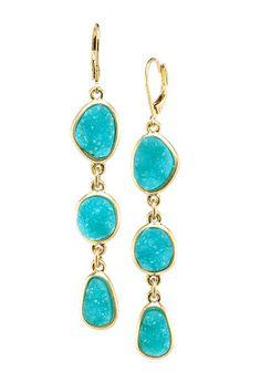 Turquoise & gold Druzy Earrings