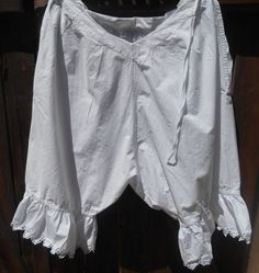 www.sophieladydeparis.etsy.com Antique Puffing French Provence Folk Dance Bloomer .Gorgeous handmade embroidered eyelet cut work bottom lace trimmed.  Made of white cotton ... #antiquelinens #victorianclothing #sophieladydeparis #vintageclothing #antiquebabyclothing