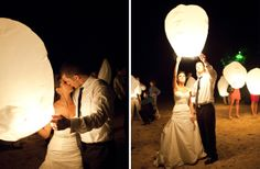 Releasing lanterns at the end of your reception, what a cute idea!