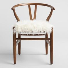 Ivory Flokati Donnan Wishbone Chair - v2