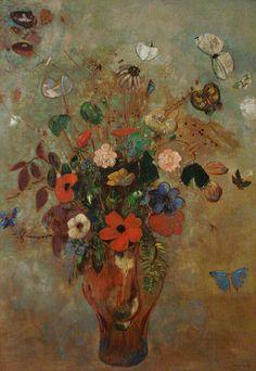 Naturaleza muerta con flores de Odilon Redon