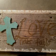 Barn wood sign - love is patient, love is kind