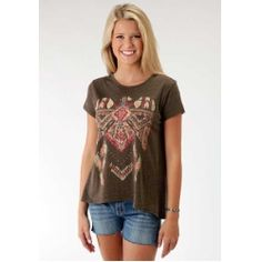 Women's Aztec Eagle Print High Low Hem Top......