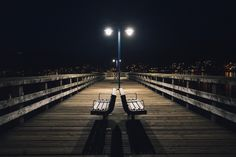 Rocky Point Park Benches at Night by Kitty L on 500px