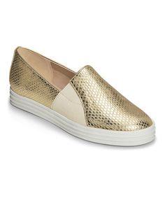 Love this Gold Metallic Salt Water Leather Slip-On Shoe on #zulily! #zulilyfinds