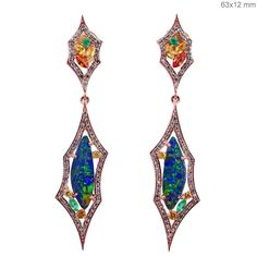 Solid 18 K Rose Gold Pave Diamond Opal Dangle Earrings Sapphire Gemstone Jewelry #Handmade