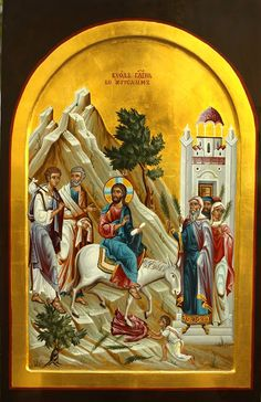 Palm Sunday Entry into Jerusalem Byzantine Icons, Byzantine Art, Religious Icons, Religious Art, Greek Icons, Paint Icon, Box Icon, Christian Religions, Palm Sunday