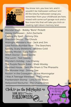 You know 'em, you love 'em, and it wouldn't be Halloween without 'em! Cue up this playlist of classic Halloween hits and get ready to go trick or treating right down memory lane! Halloween Playlist, Halloween Songs, Fall Halloween, Halloween Party, Halloween Images, Halloween Backgrounds, Halloween Wallpaper, Halloween Movie Night, Ukulele Songs
