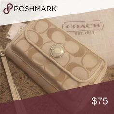 Coach wristlet Never used white wallet with leather interior. Coach Bags Clutches & Wristlets