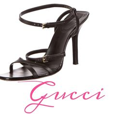 "% Authentic Black Gucci Heels Black Gucci leather sandals with crisscross straps, stacked heels and gold-tone buckle closures at ankle straps. Includes dust bag. Excellent used condition! Retails $995.   Measurements: Heels 4"". Size US 6.5/IT 36.5  ❌Trades ❌PayPal  ✅OFFERS Welcome Gucci Shoes Heels"
