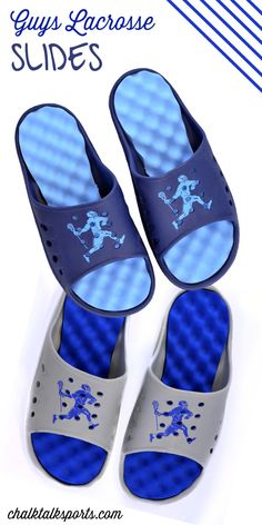 These guys lacrosse slides are great for a lacrosse player to give their feet a break! Kick back after your games or practices in these extra comfortable slides! Only from ChalkTalkSPORTS.com!