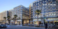 TEAM-E RENDERING PROJECT IN APRIL, 2019 on Behance Shopping Street, Shopping Mall, Mall Facade, Urban Design Concept, Shops, Futuristic Architecture, 3d Rendering, Arcade, Signage