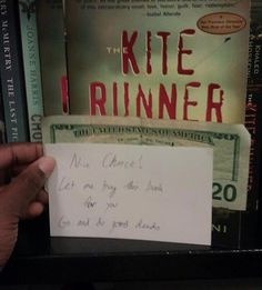 """Faith in humanity restored! It says:""""Nice choice! Let me buy this book for you. Go and do good deeds!"""""""