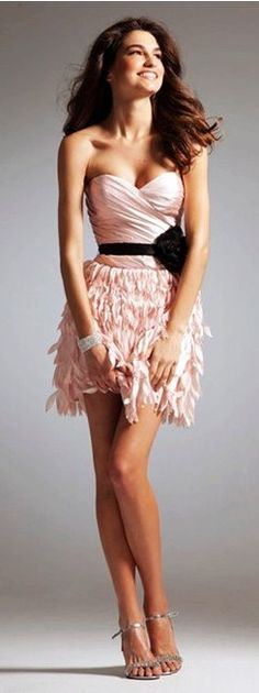 Pink Ruffle Homecoming/Prom Dresses #prom #dress www.loveitsomuch.com