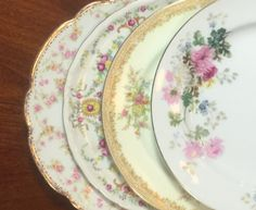 Vtg Mismatched China Plates,Set of 4 Bread Dessert Dishes,Wedding,Bridal Shower,Baby Shower,Sunday Brunch,and Tea Party,Cottage,Shabby Chic by michilina on Etsy
