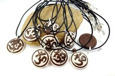 Polymer Clay Om / Ohm / Aum sanskrit sign Pendant Handmade Unique Gift for Here Gift for Him Yoga by SweetyBijou on Etsy
