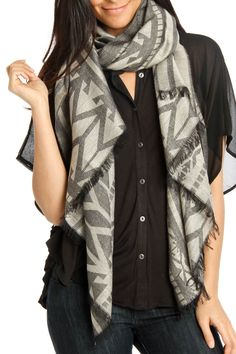 Printed Scarf In Ivory And Black