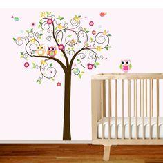 Childrens Wall Decal Swirl Tree with Flowers by wallartdesign