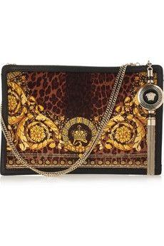 Versace|Baroque-print leather-trimmed felt bag|NET-A-PORTER.COM - StyleSays