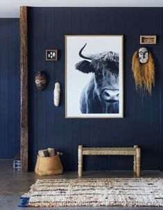 Ideas For Living Room Dark Blue Walls Furniture Painted Wood Floors, Painting Wood Paneling, Wood Panel Walls, Cement Floors, Wood Beams, Concrete Floor, Concrete Design, Room Paint Colors, Paint Colors For Living Room