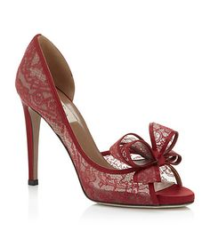 #Valentino Couture Lace Peep Toe Pump *