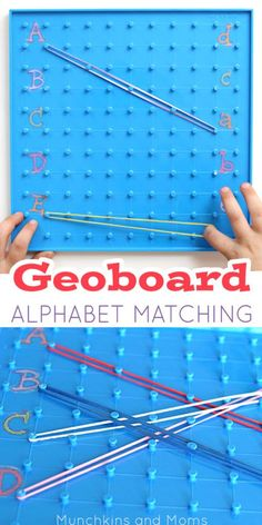 Combine fine motor skills and alphabet practice with this Alphabet Geoboard Activity! Preschool Letters, Learning Letters, Kindergarten Literacy, Alphabet Activities, Educational Activities, Fun Learning, Preschool Activities, Early Literacy, Physical Activities