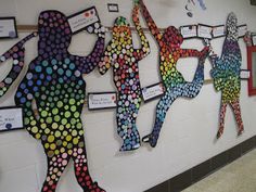 Student art wall display - use overhead projector or trace around bodies on floor
