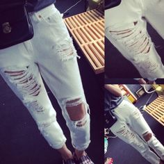 White ripped jeans Ripped boyfriend jeans! Says size small but really fits size medium or a large Pants