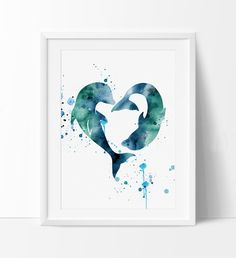 Dolphins Watercolor Print Love Dolphins Print by FineArtCenter Dolphin Drawing, Dolphin Painting, Dolphin Art, Hamsa Art, Watercolor Canvas, Watercolour, Baby Room Art, Cottage Art, Illustration