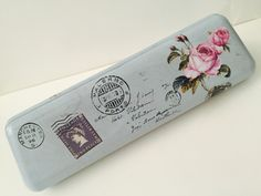 Pink Roses Metal Pencil Box by GoatGirlMH on Etsy