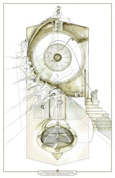 The Architectural Possibilites of a Stairway | Drawing: Dan Slavinsky | A Series of Drawings from the End of Time | Bartlett, London, 2010