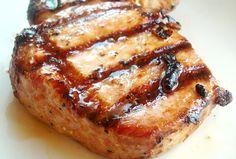 Tender Grilled Pork Chops:  4 boneless pork loin chops 1/4 cup olive oil 2 1/2 tablespoons soy sauce 1 teaspoon steak seasoning (such as Montreal Steak Seasoning or make your own*)