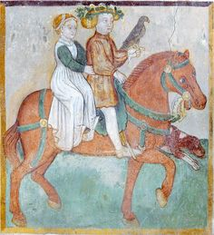 The Labours of the Months, Santa Maria, Mesocco, Tessin, CH- May - A couple on horseback, he with a wreath & as falconer