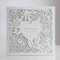 White Laser Cut Heart Floral Blue Wedding Invitations | ItsInvitation